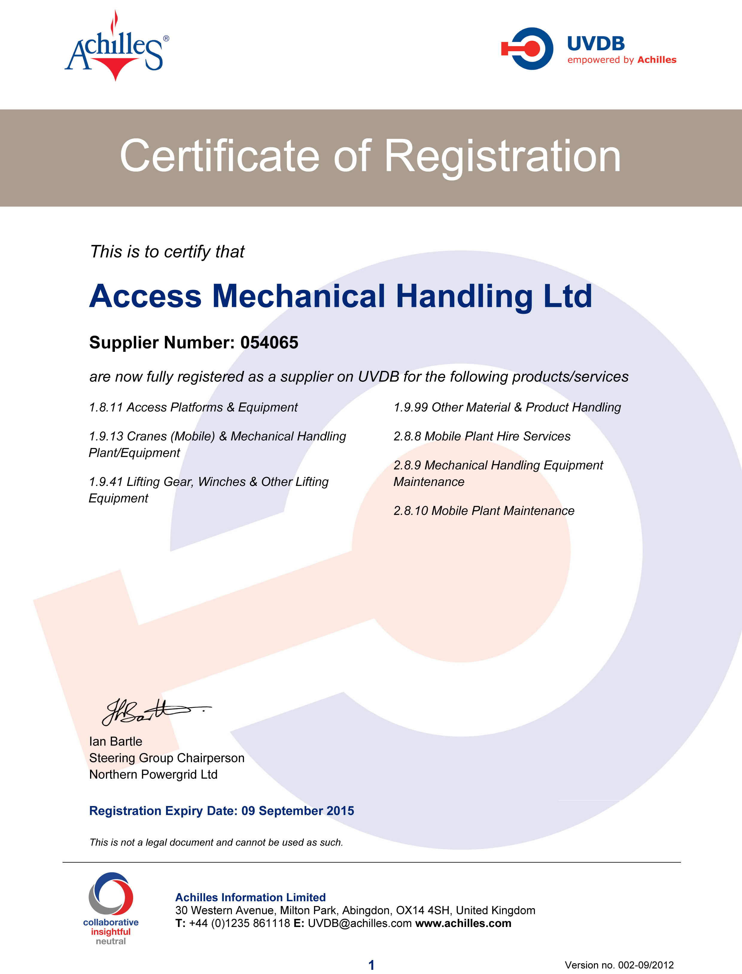 Accreditations and certfications access mechanical handling community certificate 1betcityfo Choice Image